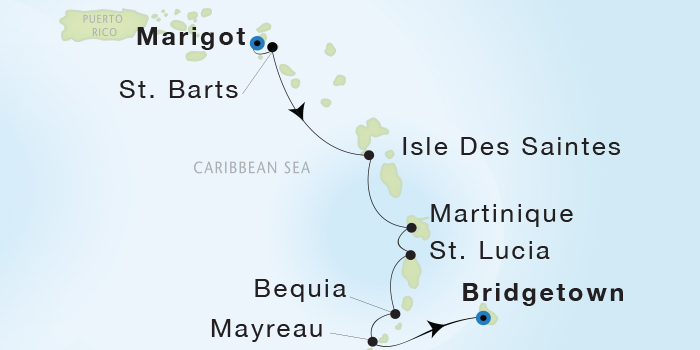 Singles Cruise - Balconies-Suites Seadream Yacht Club, Seadream 1 February 6-13 2019 Marigot, St. Martin to Bridgetown, Barbados
