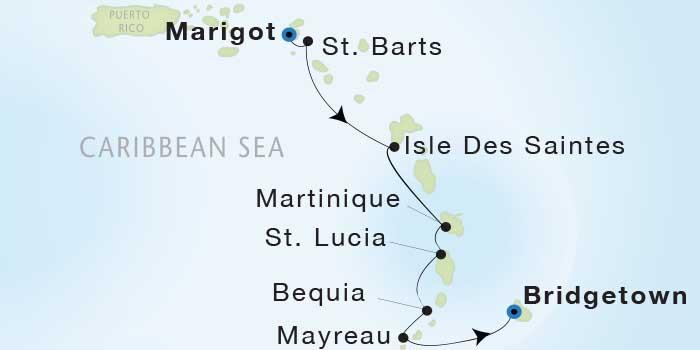 Singles Cruise - Balconies-Suites Seadream Yacht Club, Seadream 1 January 16-23 2019 Marigot, St. Martin to Bridgetown, Barbados