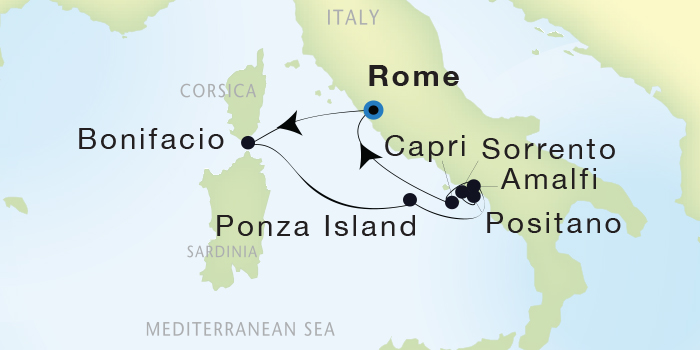 SINGLE Cruise - Balconies-Suites Seadream Yacht Club, Seadream 1 July 9-16 2019 Civitavecchia (Rome), Italy to Civitavecchia (Rome), Italy