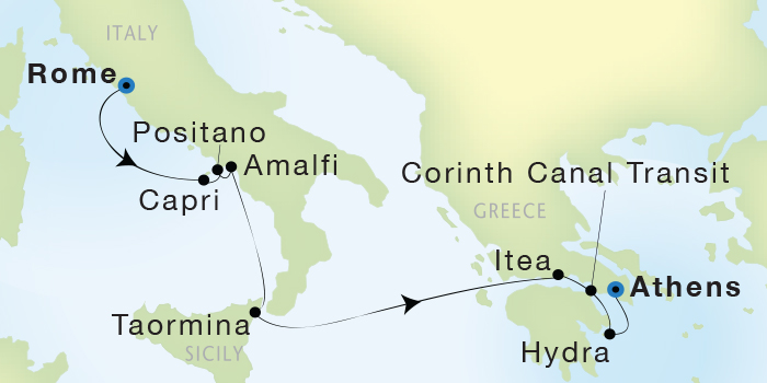 World CRUISE SHIP BIDS - Seadream Yacht Club, Seadream 1 June 11-18 2023 Civitavecchia (Rome), Italy to Athens (Piraeus), Greece