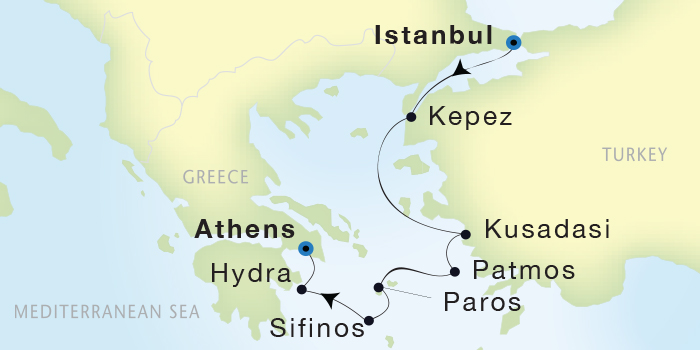 SINGLE Cruise - Balconies-Suites Seadream Yacht Club, Seadream 1 June 25 July 2 2019 Istanbul, Turkey to Athens (Piraeus), Greece