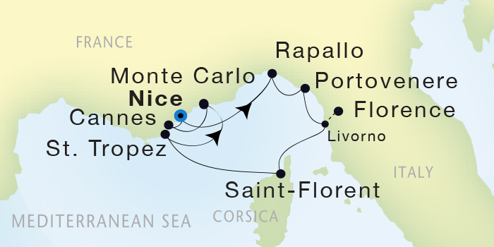 Singles Cruise - Balconies-Suites Seadream Yacht Club, Seadream 1 May 22-30 2019Nice, France to Nice, France