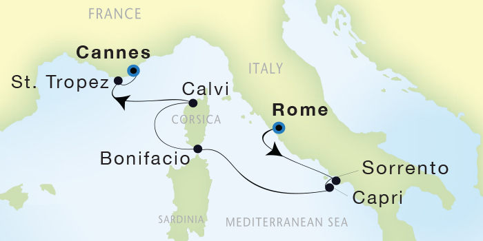 SINGLE Cruise - Balconies-Suites Seadream Yacht Club, Seadream 1 October 15-22 2019 Cannes, France to Civitavecchia (Rome), Italy