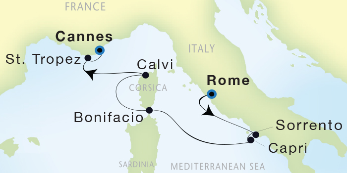 LUXURY WORLD CRUISES - Penthouse, Veranda, Balconies, Windows and Suites Seadream Yacht Club, Seadream 1 October 22-29 2019 Civitavecchia (Rome), Italy to Cannes, France