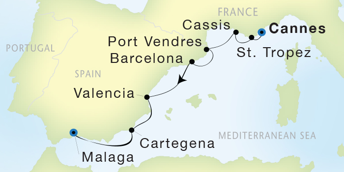 World CRUISE SHIP BIDS - Seadream Yacht Club, Seadream 1 October 29 November 5 2023 Cannes, France to Malaga, Spain