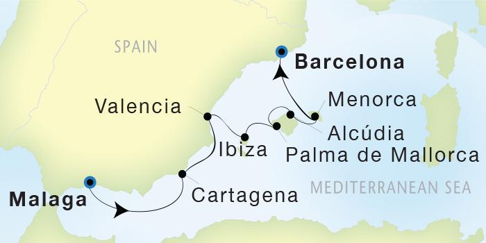 SINGLE Cruise - Balconies-Suites Seadream Yacht Club, Seadream 2 April 30 May 7 2019 Malaga, Spain to Barcelona, Spain