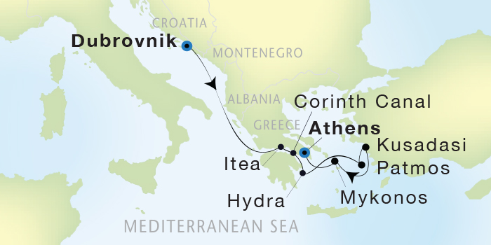SINGLE Cruise - Balconies-Suites Seadream Yacht Club, Seadream 2 August 27 September 3 2019 Dubrovnik, Croatia to Athens (Piraeus), Greece