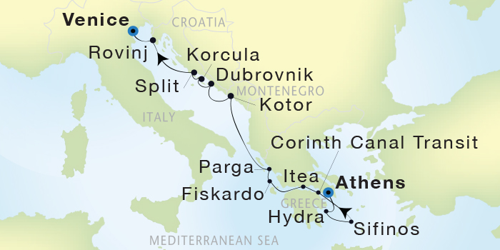 SINGLE Cruise - Balconies-Suites Seadream Yacht Club, Seadream 2 August 9-20 2019 Athens (Piraeus), Greece to Venice, Italy
