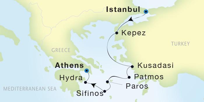 SINGLE Cruise - Balconies-Suites Seadream Yacht Club, Seadream 2 July 2-9 2019 Istanbul, Turkey to Athens (Piraeus), Greece
