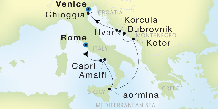 SINGLE Cruise - Balconies-Suites Seadream Yacht Club, Seadream 2 July 23 August 2 2019 Civitavecchia (Rome), Italy to Venice, Italy