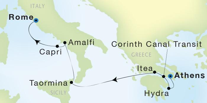 Singles Cruise - Balconies-Suites Seadream Yacht Club, Seadream 2 July 9-16 2019 Athens (Piraeus), Greece to Civitavecchia (Rome), Italy