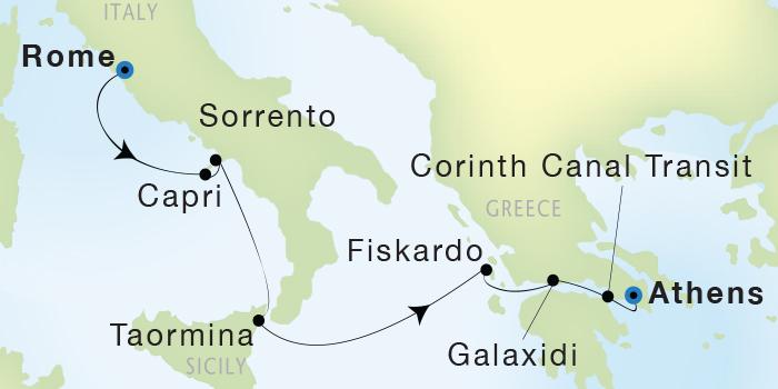 SINGLE Cruise - Balconies-Suites Seadream Yacht Club, Seadream 2 June 11-18 2019 Civitavecchia (Rome), Italy to Athens (Piraeus), Greece