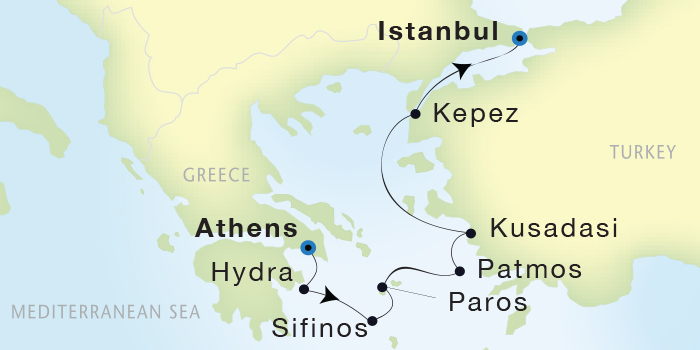 SINGLE Cruise - Balconies-Suites Seadream Yacht Club, Seadream 2 June 25 July 2 2019 Athens (Piraeus), Greece to Istanbul, Turke