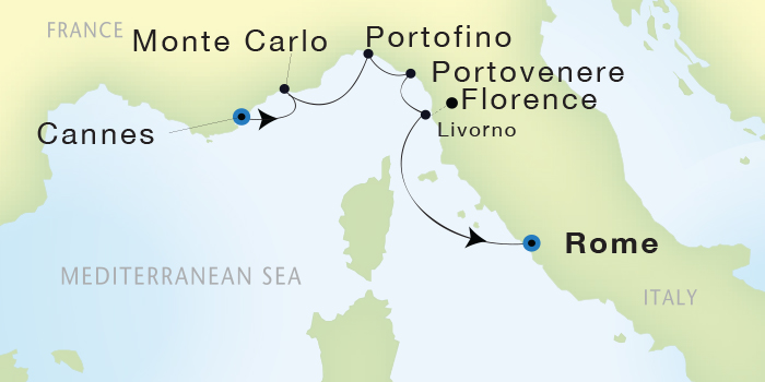 SINGLE Cruise - Balconies-Suites Seadream Yacht Club, Seadream 2 May 30 June 4 2019 Cannes, France to Civitavecchia (Rome), Italy
