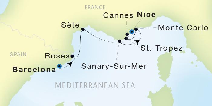 SINGLE Cruise - Balconies-Suites Seadream Yacht Club, Seadream 2 May 7-14 2019 Barcelona, Spain to Nice, France