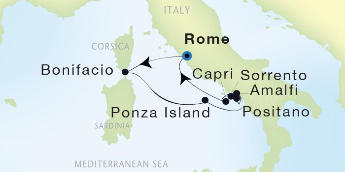 SINGLE Cruise - Balconies-Suites Seadream Yacht Club, Seadream 2 October 1-8 2019 Civitavecchia (Rome), Italy to Civitavecchia (Rome), Italy