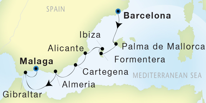Singles Cruise - Balconies-Suites Seadream Yacht Club, Seadream 2 October 25 November 1 2019 Barcelona, Spain to Malaga, Spain
