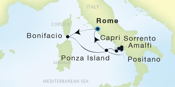 SINGLE Cruise - Balconies-Suites Seadream Yacht Club, Seadream 2 October 8-16 2019 Civitavecchia (Rome), Italy to Civitavecchia (Rome), Italy