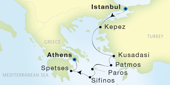 Singles Cruise - Balconies-Suites Seadream Yacht Club, Seadream 2 September 10-17 2019 Istanbul, Turkey to Athens (Piraeus), Greece
