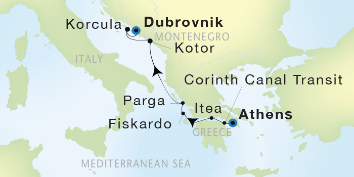 SINGLE Cruise - Balconies-Suites Seadream Yacht Club, Seadream 2 September 17-24 2019 Athens (Piraeus), Greece to Dubrovnik, Croatia
