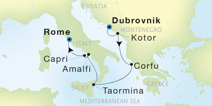 Singles Cruise - Balconies-Suites Seadream Yacht Club, Seadream 2 September 24 October 1 2019 Dubrovnik, Croatia to Civitavecchia (Rome), Italy