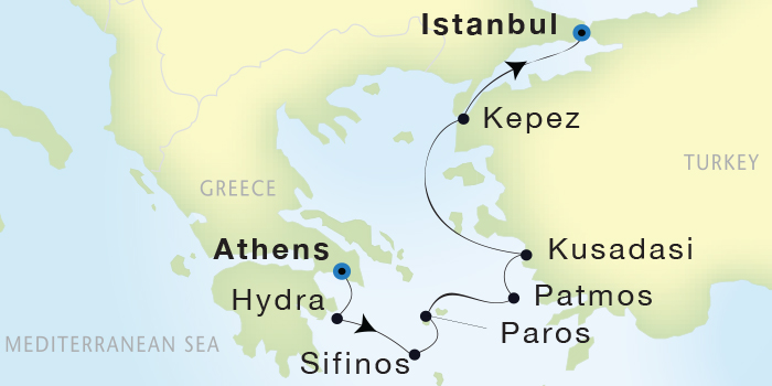 SINGLE Cruise - Balconies-Suites Seadream Yacht Club, Seadream 2 September 3-10 2019 Athens (Piraeus), Greece to Istanbul, Turkey