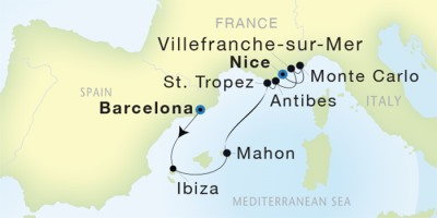 Seadream Yacht Club Cruises Seadream 1  Map Detail Barcelona, Spain to Nice, France August 5-12 2017 - 7 Days