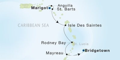 Seadream Yacht Club Cruises Seadream 1  Map Detail Marigot, Saint Martin to Bridgetown, Barbados December 21-28 2017 - 7 Days