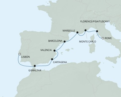 LUXURY CRUISE - Balconies-Suites Seven Seas Explorer - RSSC April 26 May 6 2020 Cruises Civitavecchia, Italy to Lisbon, Portugal