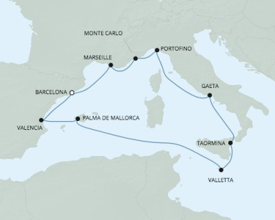 SINGLE Cruise - Balconies-Suites Seven Seas Explorer - RSSC May 11-21 2020 CRUISE Barcelona, Spain to Barcelona, Spain