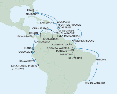LUXURY CRUISES - Penthouse, Veranda, Balconies, Windows and Suites Seven Seas Mariner December 23 2018 January 31 2019 Rio de Janeiro, Brazil to Lima (Callao), Peru