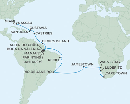 LUXURY CRUISES - Balconies and Suites Seven Seas Mariner December 9 2018 January 13 2019 Cape Town, South Africa to Miami, Florida