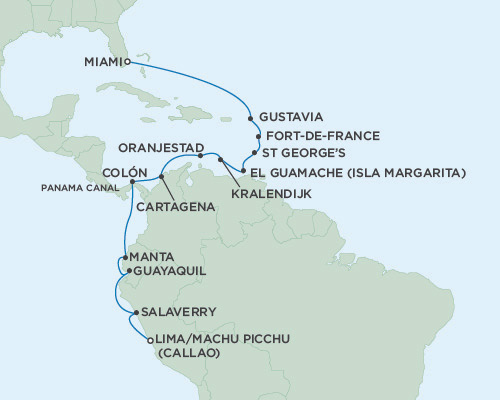 Singles Cruise - Balconies-Suites Seven Seas Mariner 2019 January 13-31 Miami, Florida to Miami, Florida to Lima (Callao), Peru