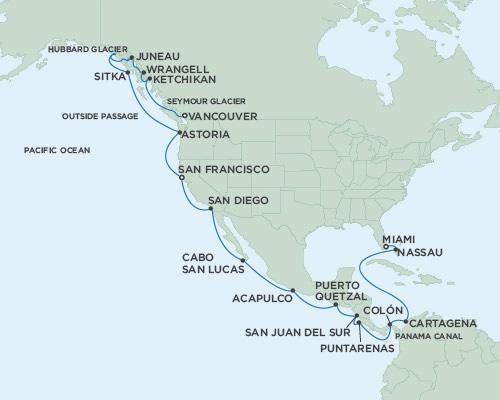 LUXURY CRUISE - Balconies-Suites Seven Seas Mariner April 20 May 18 2019 Miami, Florida to Vancouver, British Columbia, Canada