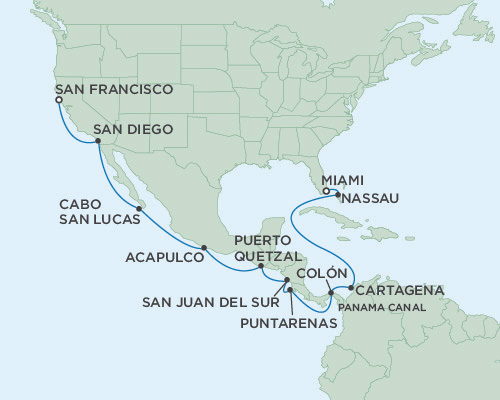 Singles Cruise - Balconies-Suites Seven Seas Mariner April 20 May 8 2019 Miami, Florida to San Francisco, California