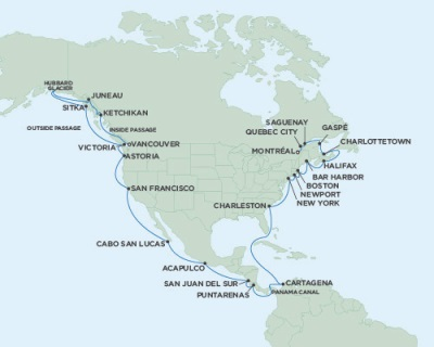 LUXURY CRUISE - Balconies-Suites Seven Seas Mariner August 24 October 1 2019 Vancouver, British Columbia, Canada to Montreal, QC, Canada