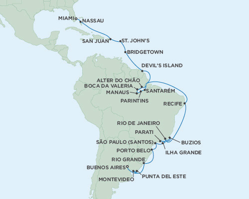 Seven Seas Mariner February 21 March 25 2016 Buenos Aires, Argentina to Miami, Florida
