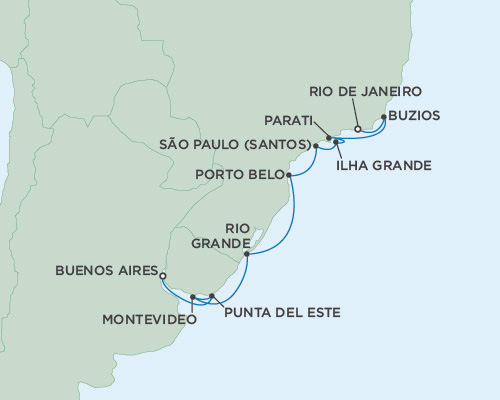 Singles Cruise - Balconies-Suites Seven Seas Mariner February 21 March 25 2019 Buenos Aires, Argentina to Rio de Janeiro, Brazil