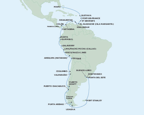 LUXURY CRUISE - Balconies-Suites Seven Seas Mariner January 13 February 21 Miami, Florida to Buenos Aires, Argentina