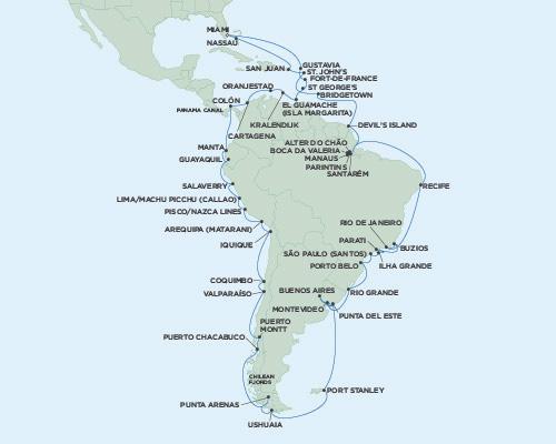 Radisson Luxury Cruises -  Mariner January 13 March 25 2021 Miami, Florida to Miami, Florida