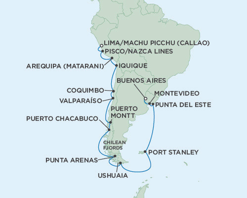 SINGLE Cruise - Balconies-Suites Seven Seas Mariner January 31 February 21 2019 Lima (Callao), Peru to Buenos Aires, Argentina