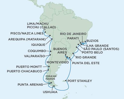 Singles Cruise - Balconies-Suites Seven Seas Mariner January 31 March 4 2019 Lima (Callao), Peru to Rio de Janeiro, Brazil