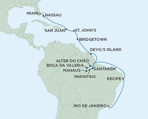 Radisson Luxury Cruises -  Mariner March 4-25 2021 Rio de Janeiro, Brazil to Miami, Florida
