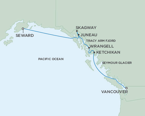 Singles Cruise - Balconies-Suites Seven Seas Mariner May 18-25 2019 Vancouver, British Columbia, Canada to Anchorage (Seward), Alaska