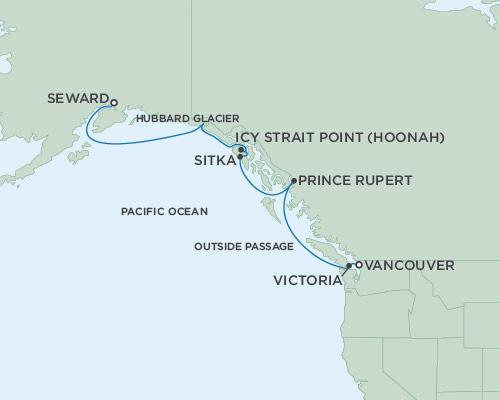 Singles Cruise - Balconies-Suites Seven Seas Mariner May 25 June 1 2019 Anchorage (Seward), Alaska to Vancouver, British Columbia, Canada
