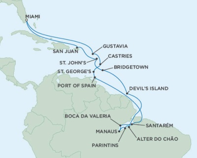 Singles Cruise - Balconies-Suites Seven Seas Mariner November 26 December 21 2019 Miami, FL to Miami, FL