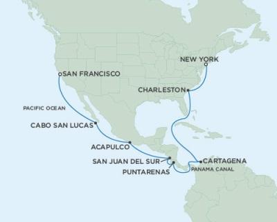 Singles Cruise - Balconies-Suites Seven Seas Mariner September 3-21 2019 San Francisco, CA to New York (Manhattan), NY