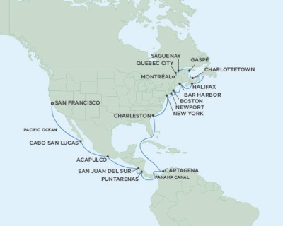 Singles Cruise - Balconies-Suites Seven Seas Mariner September 3 October 1 2019 San Francisco, CA to Montreal, QC, Canada