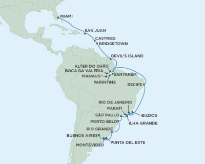 Singles Cruise - Balconies-Suites Seven Seas Mariner - RSSC February 25 March 29 2020 Cruises Buenos Aires, Argentina to Miami, FL, United States