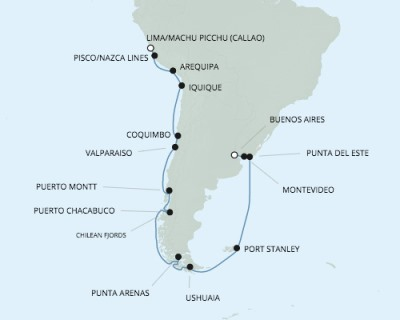 Singles Cruise - Balconies-Suites Seven Seas Mariner - RSSC February 4-25 2020 Cruises Callao, Peru to Buenos Aires, Argentina